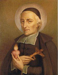 """San Juan Eudes (14 de noviembre de 1601 - 19 de agosto de 1680). Festividad:19 de Agosto. Atributos: Un Corazón y un Crucifijo. """"El apóstol de la devoción a los Sagrados Corazones""""."""