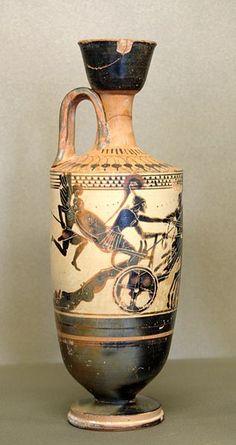 Achille héros grec traîne Hector - Lécythe attique à figures noires sur fond blanc. Peintre de Diosphos, vers 490-480 av. J.C.