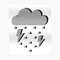 Cartoon Cupcakes, Lightning Cloud, Cloud Art, Sneaker Art, Printmaking, Black And Grey, Rain, Clouds, Art Prints