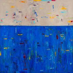 """Blue Rain by lela kay Oil ~ 40"""" x 40"""""""