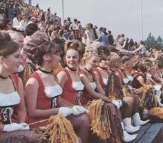 The Dixie Darlings in 1972. Check out those uniforms!  This was the first uniform I wore at Southern Miss as a Dixie Darling!  Only in 1979, our hair wasn't piled so high and our boots were knee high!  I loved that uniform!
