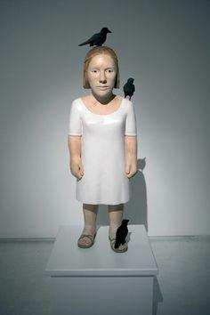 black and white - woman with birds - figurative sculpture - Claudette Schreuders Sculpture Art, Sculptures, South African Artists, Bird Art, Artist Art, White Women, Installation Art, Art Dolls, Black And White