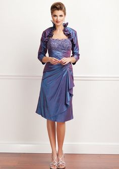 Purple Knee Length Mother of the Bride Dress with Pleated Midriff and Bolero Jacket