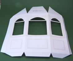 Free Printable Bay Window or Window Template in Dolls House Miniature Scales: Score and Fold the Printable Along the Fold Lines