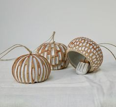 INGLE BELLS 🎶 I've just finished stringing some new patterned bells. These show the raw toasty clay with white glaze. I like the contrast Ceramic Clay, Ceramic Pottery, Pottery Art, Diy Clay, Clay Crafts, Ceramica Artistica Ideas, Deco Nature, Polymer Clay Tools, Ceramic Light