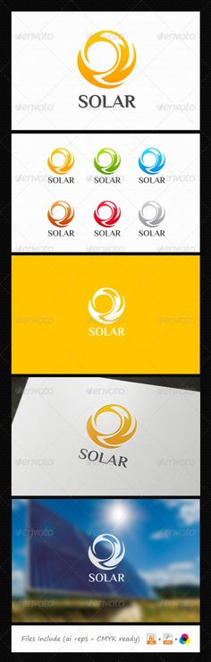 Solar Energy  #GraphicRiver         A perfect logo for Solar concept logo, can be used many business aspect like friendly energy power, consulting and many more.  	 Featured : Ai / Eps / Resizeable / 5 different color variations.  	 Files Updated November 2013 : Fixed shape, add 5 color variations, font name detil.  More Exclusive Logo Collections      Created: 11July13 GraphicsFilesIncluded: VectorEPS #AIIllustrator Layered: Yes MinimumAdobeCSVersion: CS Resolution: