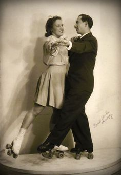 vintage roller skating couple