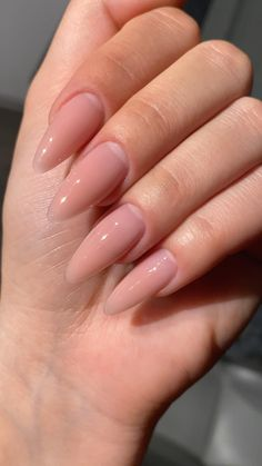 Acrylic Nails Nude, Simple Acrylic Nails, Almond Acrylic Nails, Simple Nails, Natural Looking Acrylic Nails, Nude Sparkly Nails, Acrylic Nail Designs Classy, Matte Gel Nails, Clear Gel Nails