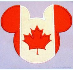 Canada Flag Mister Mouse Head Machine Applique and Filled Embroidery Design, multiple sizes, including 4 inch