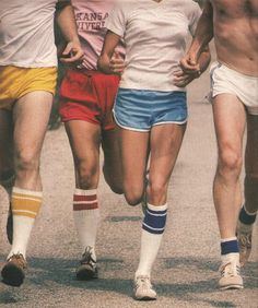 Aerobic wear of the late 70's:knee high socks and racer leg shorts! Yikes.: