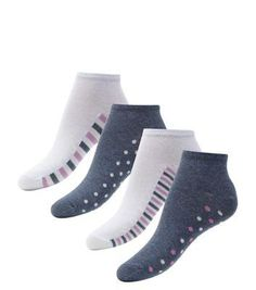 New Look 4 Pack White and Navy Stripe and Polka Dot Sole Trainer Socks #socks #covetme