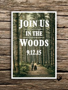 Rustic Woods Postcard Save the Date // Woodland Wedding Save the Date by factorymade                                                                                                                                                                                 More