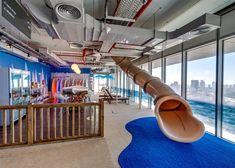 Google's Tel Aviv headquarters features a slide
