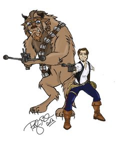 Star Wars / Disney mash up - Han Solo and Chewbacca