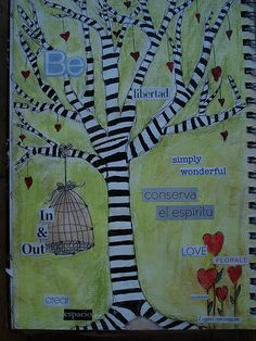 the striped tree is really creative (art journal entry) Art Journal Pages, Art Journaling, Junk Journal, Handmade Journals, Handmade Books, Creative Crafts, Creative Art, Found Poetry, Tree Of Life Art