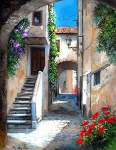 Landscape Art, Landscape Paintings, Mode Poster, Cottage Art, Garden Architecture, Wow Art, Italian Artist, Beautiful Paintings, Painting Inspiration
