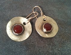 Brass Earrings with Carnelian by YMBlueOriginals on Etsy, $30.00