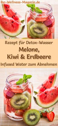 Melon Kiwi Strawberry Water - Recipe for . - Healthy detox water – recipe for melon-kiwi-strawberry water without sugar: Infused water helps yo - Detox Diet Drinks, Natural Detox Drinks, Healthy Juice Recipes, Healthy Detox, Healthy Juices, Detox Recipes, Detox Juices, Healthy Water, Easy Detox