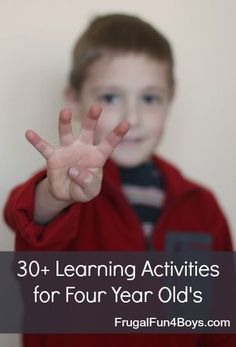 Love this huge list of learning activities for 4 year old's!  Alphabet activities, fine motor skills, counting, etc. These would work most 3 and 5 year old's as well.