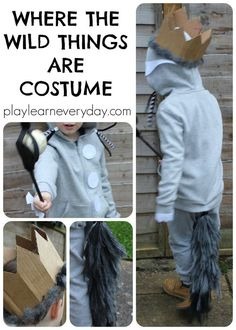 An easy to make, no sew costume for Max from the book Where the Wild Things Are, perfect for World Book Day. Easy Book Character Costumes, Character Day Ideas, Children's Book Characters, Book Costumes, World Book Day Costumes, Teacher Costumes, Storybook Characters, Costume Ideas, Halloween Costumes
