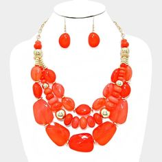 "Orange Multi-strand pebble necklace Color : Gold, Orange • Necklace Size : 18"" + 3"" L • Decor Size : 3"" L  • Multi-strand pebble necklace NYC Chic Accessories Jewelry Necklaces"