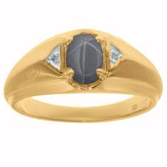 Gemologica Yellow Gold Diamond Grey Star Sapphire Ring For Men By Gemologica - Sleek and handsome, this men's grey star sapphire and diamond ring is sure to impress. Mens Diamond Jewelry, Copper Jewelry, Fine Jewelry, Star Sapphire Ring, Expensive Jewelry, Chains For Men, Bracelets For Men, Metal Shop, Rings For Men