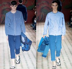 Junya Watanabe 2015 Spring Summer Mens Runway Catwalk Looks Collection - Mode à Paris Fashion Week Homme Mode Masculine France - Twill Denim Jeans Patchwork Mix Match Outerwear Coat Jacket Blazer Dragon Hobo Vagabond Railroad Stripes Cardigan Vest Waistcoat Button Down Shirt Sandals Loafers Parka Anorak Hoodie Zigzag Curved Hem Tunic Slippers Jogging Sweatpants Long Johns Pants Trousers Abstract Blazer Shorts Lattice
