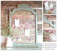 old mirror turned amazing memo board!!! Painted with Sweet Pickins Milk Paint in Sweetie Jane with our dark wax.  Tutorial for the floral wood - http://www.sweetpickinsfurniture.com/2014/11/floralprintonnapkins.html