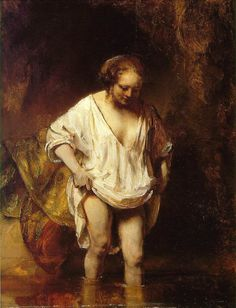 Rembrandt (1654) painted this woman (his common-law wife) bathing in a stream by using thick white paint to sculpt the layers of her garmet, leaving the background obscured.