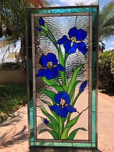 """The Elegant """"Iris trio"""" Stained Glass Window Panel (We do custom work! Please email me for a quick quote) Making Stained Glass, Stained Glass Paint, Stained Glass Flowers, Stained Glass Panels, Stained Glass Projects, Fused Glass Art, Mosaic Glass, Mosaic Mirrors, Mosaic Wall"""