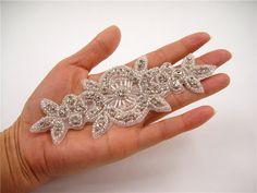 Rhinestone applique Bridal Sash Applique crystal by LaceNTrim