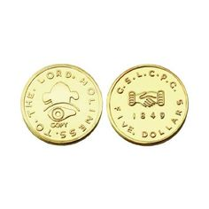 "LDS 24kt Gold Plated $5.00 Mormon Gold Coin Replica - 3/4"" Diameter - Minted in Salt Lake By Brigham Young - http://mormonfavorites.com/lds-24kt-gold-plated-5-00-mormon-gold-coin-replica-34-diameter-minted-in-salt-lake-by-brigham-young/  #LDS #MormonFavorites #LDSGems"