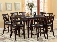 Furniture Of America Counter Ht. Table With 6 Chairs 7 Pc. Edgewood Ii Collection – Magnifique Furniture