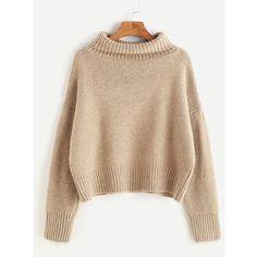 Khaki Turtleneck Dropped Shoulder Seam Sweater
