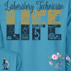 """Laboratory Technician Life!! We love this personalized t-shirt customized exactly for lab techs! This design has been prepared on a soft, unisex t-shirt, comfortable fit in an array of colors in either short sleeved, long sleeved or raglan tees! ♥DESIGN YOUR SHIRT ♥ ♥ Choose the color choice of your shirt ♥ The front design is approximately 4"""" X 4"""" and includes monogram and microscope frame on the front with monogram initials, usually listed as initial of first name, initial of last name…"""