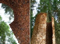 """Artist-in-Residence at the Nordic Artists' Centre Dalsåsen, mexican architect Iván Juárez built """"Inner Forest"""", a pavilion made from thousands of pine cones Wooden Pavilion, Weird And Wonderful, Beautiful Architecture, Land Art, Pine Cones, Installation Art, Norway, Scandinavian, Centre"""