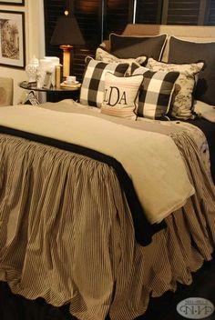 black and cream toile bedding