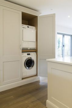 Woodwork Kitchens Hand Painted Kitchen Gallery - The Extra Details Laundry In Kitchen, Laundry Cupboard, Utility Cupboard, Laundry Doors, Laundry Cabinets, Open Plan Kitchen Living Room, Kitchen Cabinetry, Cupboards, Boot Room Utility