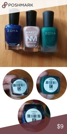 Zoya nail polish The blue is unused: came home to find that I already had 2 other bottles about the same color. I must like this blue! I've tried the green on one nail. The nude perfector has been used once for all my fingernails. $9 for all 3,. $4 for each. Zoya Other