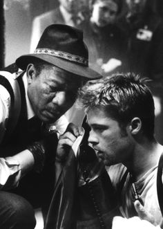 Morgan Freeman & Brad Pitt in Se7en (David Fincher, 1995)