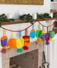 Bright Hats and Mitts Garland - NOTE TO SELF: this is a knit pattern, find little kids crocheted mitts pattern and make this into ornaments.