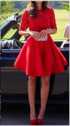 Half Long Sleeves red lace homecoming dresses,backless homecoming dresses,short homecoming dresses,open back high neck homecoming dresses,cheap homecoming dresses,custom made homecoming dresses,high quality homecoming dresses,mini length homecoming dresses,short prom dresses,red lace prom dresses,short prom gowns,cocktail dresses,short party dresses,women skirt