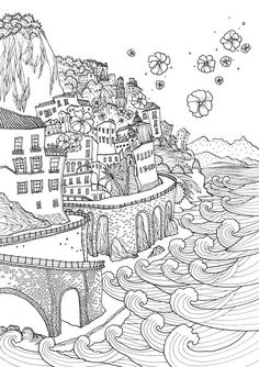 Adult Coloring Pages Beach Inspirational Coloring Europe Bella Italia A Coloring Book tour Of the – Martin Chandra Coloring Pages Coloring Book Pages, Printable Coloring Pages, Coloring Sheets, Beach Coloring Pages, Doodles, Illustration, Mandala Coloring, Free Coloring, Mandala Art