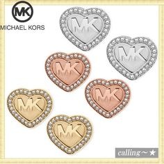 セレブ愛用者多数☆Michael Kors☆Logo Heart Stud Earrings