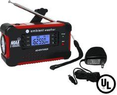Adventurer Weather Emergency Solar Hand Crank AM/FM/NOAA Digital Radio, Flashlight, Cell Phone Charger