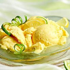 Garnish this tart-sweet ice cream with citrus curls. Use a zester to cut the lemon or lime peel into long strips. Wrap strips around a chopstick or drinking straw and let sit for 30 minutes. Cut to desired lengths.
