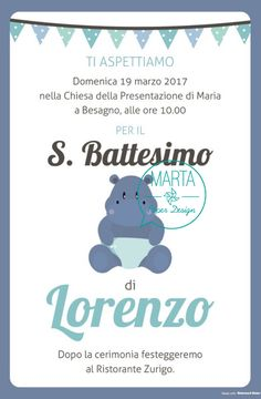 Per il bellissimo Lorenzo il tema era un bel ippopotamo!! Ho creato gli inviti personalizzati, anche in formato digitale per l'invio tramite WhatsApp, i biglietti ricordo con la foto, i carte… Wedding Party Invites, Party Invitations, Party, Paper, Christians, Crates