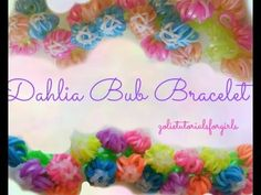 in this video, i am going to show you all how to create this adorable dahlia bud bracelet. this is my own original design. Loom Band Patterns, Rainbow Loom Patterns, Bracelet Patterns, Crazy Loom Bracelets, Rainbow Loom Bracelets, Monster Tail Bracelets, Loom Love, Love Rainbow, Flower Designs
