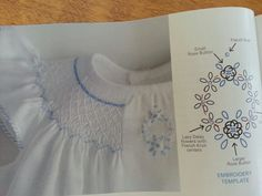"Close up details of Smocking and embroidery. Smocking plate found in Sew Beautiful magazine Issue #154. Dress pattern is "" Bishop Trio"" by Creative Keepsake."
