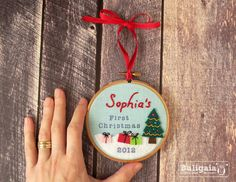 Personalized Baby's First Christmas ornament embroidered hanging hoop holiday decor - Baby First Christmas Ornament, Babies First Christmas, Christmas 2014, Xmas Ornaments, Christmas Baubles, All Things Christmas, Christmas Holidays, Christmas Ideas, Holiday Crafts